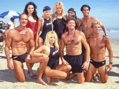 bay watch | Cast of Syndicated Tv Series Baywatch Filming an Episode in Huntington ...