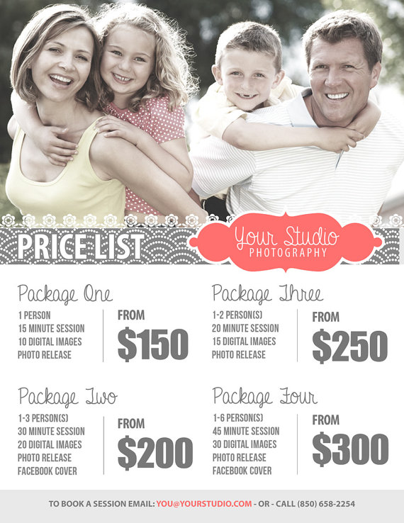 Price Sheet Template - Photography Price List - Marketing - price sheet template