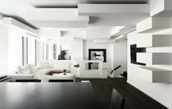 Minimalistisches wohnzimmer tolle wand und deckenelemente