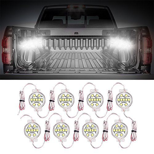 MICTUNING White LED Truck Bed Rail Light Kit Waterproof
