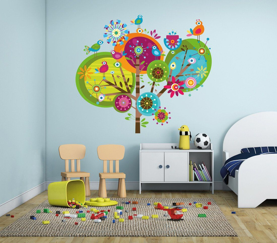 cik295 Full Color Wall decal Tree abstract bird children\'s ...