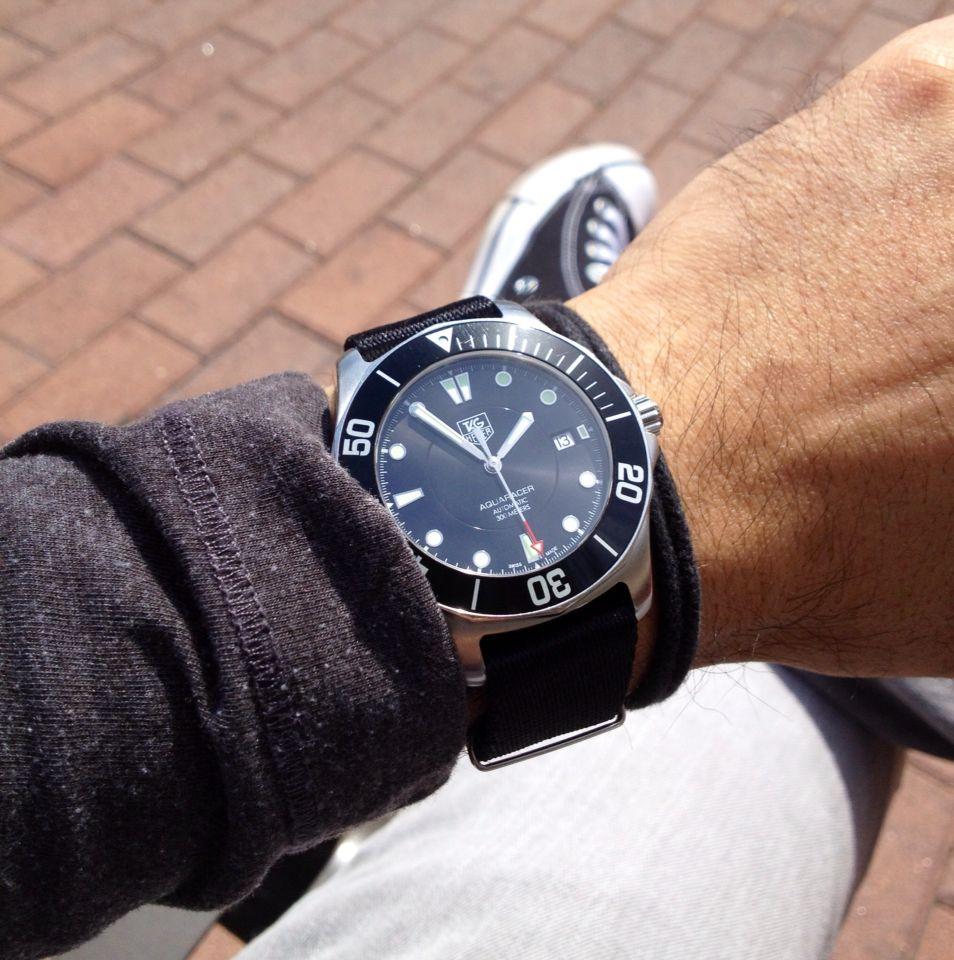 Tag Heuer Aquaracer on Nato Strap | Watch Wrist Shots ...
