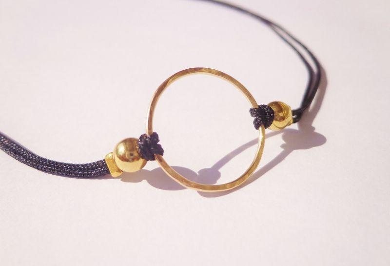 14 kt Gold filled Karma adjustable choker necklace on black cord  Subtley Sleek ...
