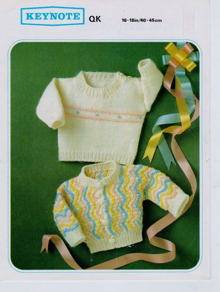 4c27fe90b53618 Original Keynote Baby Knitting Pattern for 2 Sweaters 16-18 Chest This  pattern is in