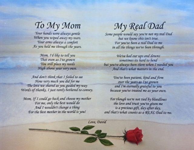 Wedding Gift For Mom And Stepdad : ... Poem Christmas Gift for Mom & Step-dad Dads, Mom and Gifts for mom