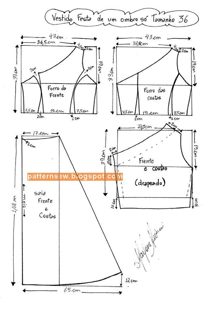 Modelo detallado para el tamaño de vestido de novia 36 - 50 - Patrón ...