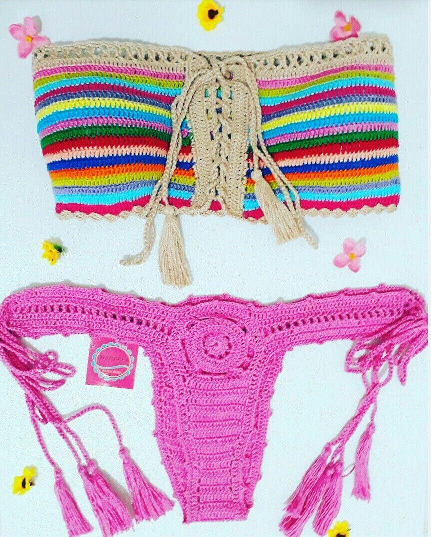 3872676c75ca Biquíni tomara que caia colorido 💞 | biquínis crochê Marella ...