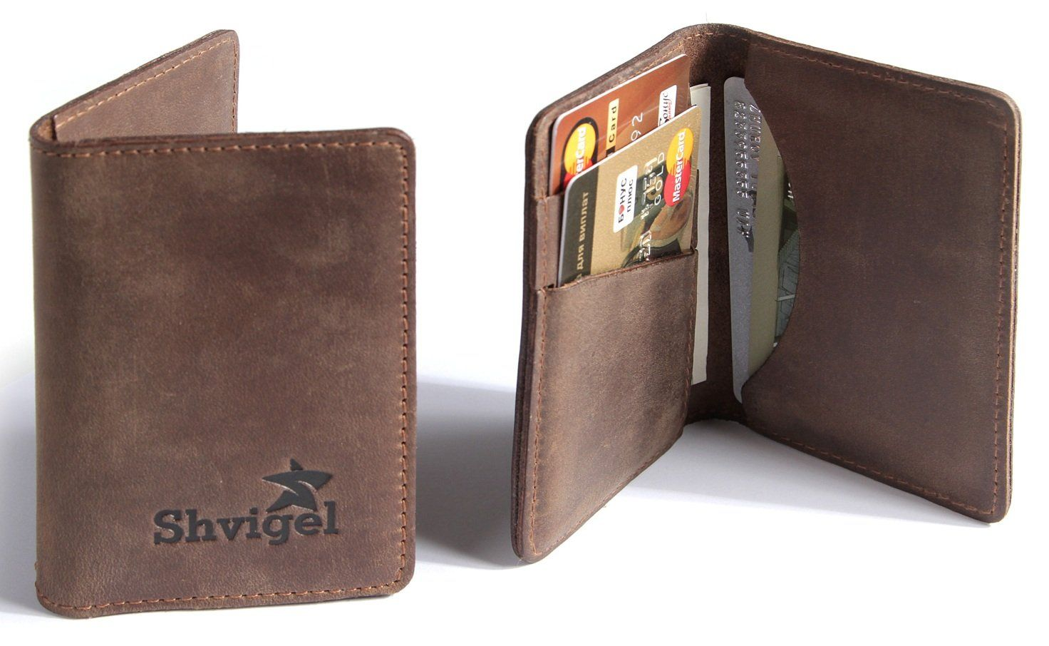 Amazon.com: Shvigel Credit Card Holder - Leather Slim Wallet Case ...