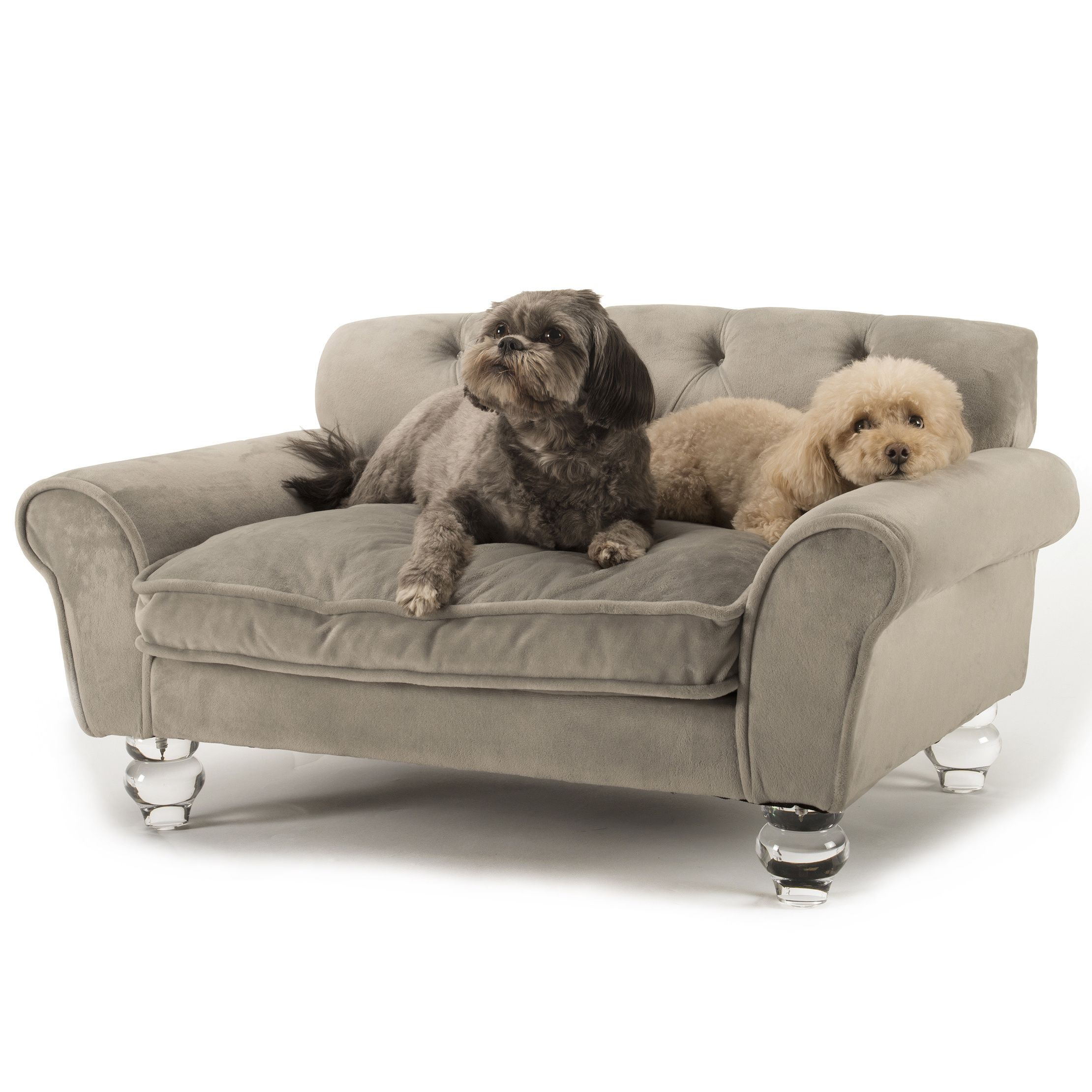 La Joie is a luxurious velvet pet bed accented with deep tufting