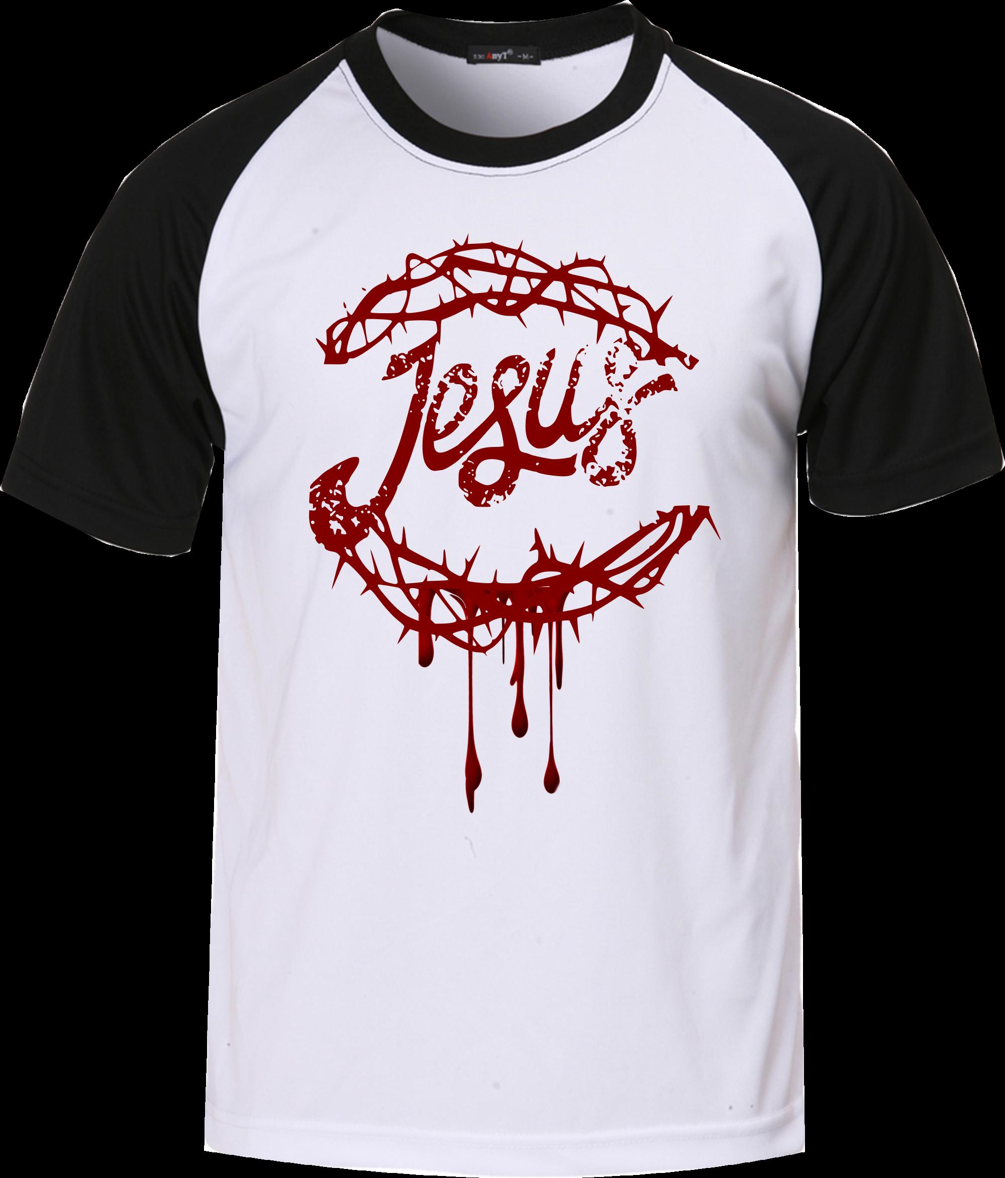 Camiseta Evangélica Jesus Coroa de Espinhos - Modelo Raglan ... 0da8d128b6ab8