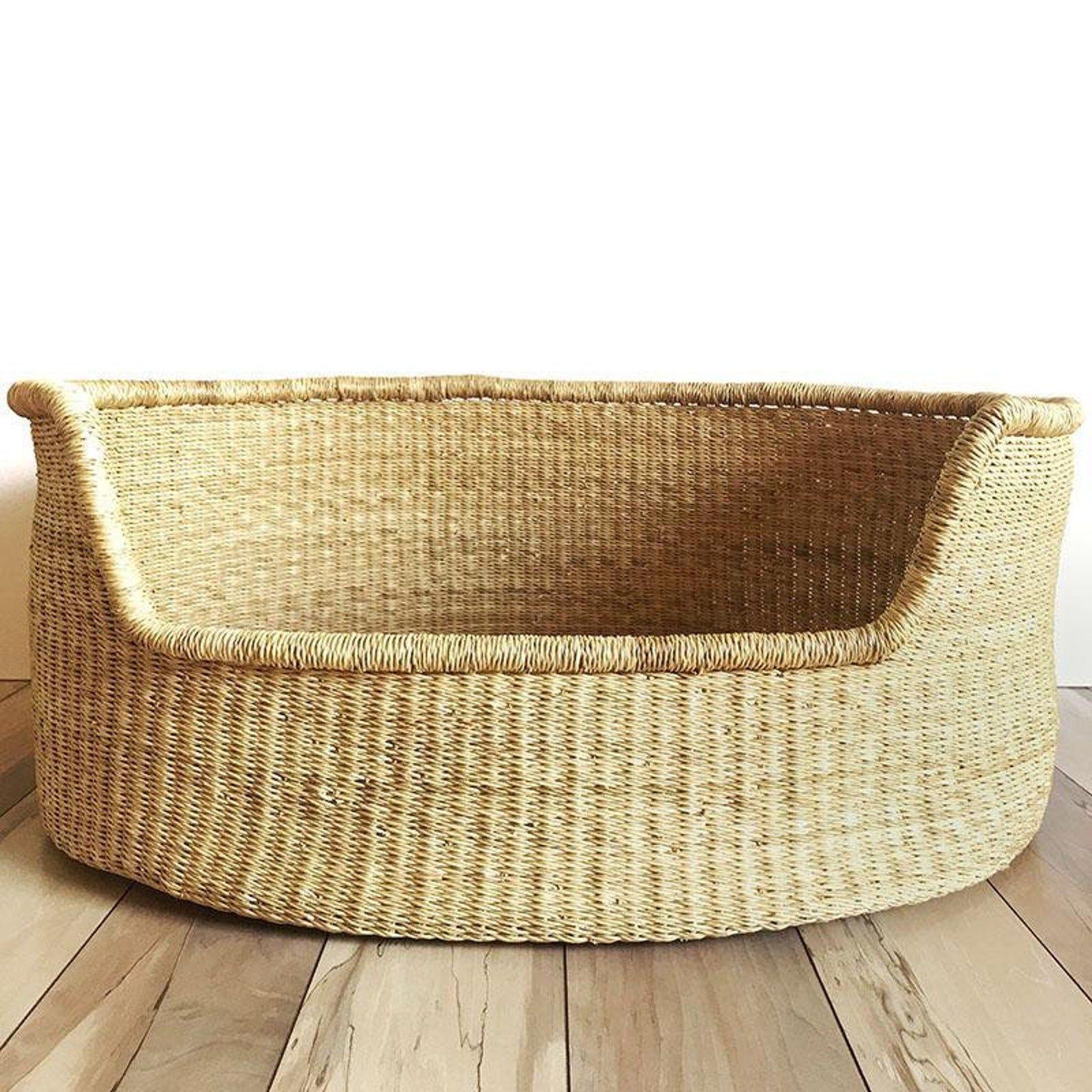 Large Bolga Dog Basket African Dog Bed Handmade Dog Bed Comfortable Dog Bed Wicker Dog Bed Dog Bed Basket Dog Bed Wicker Dog Bed Dog Basket