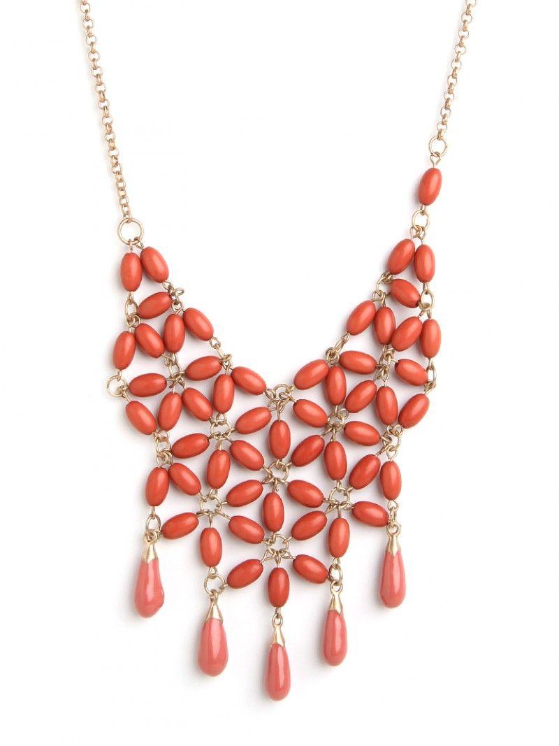 Coral floral bib necklace $32