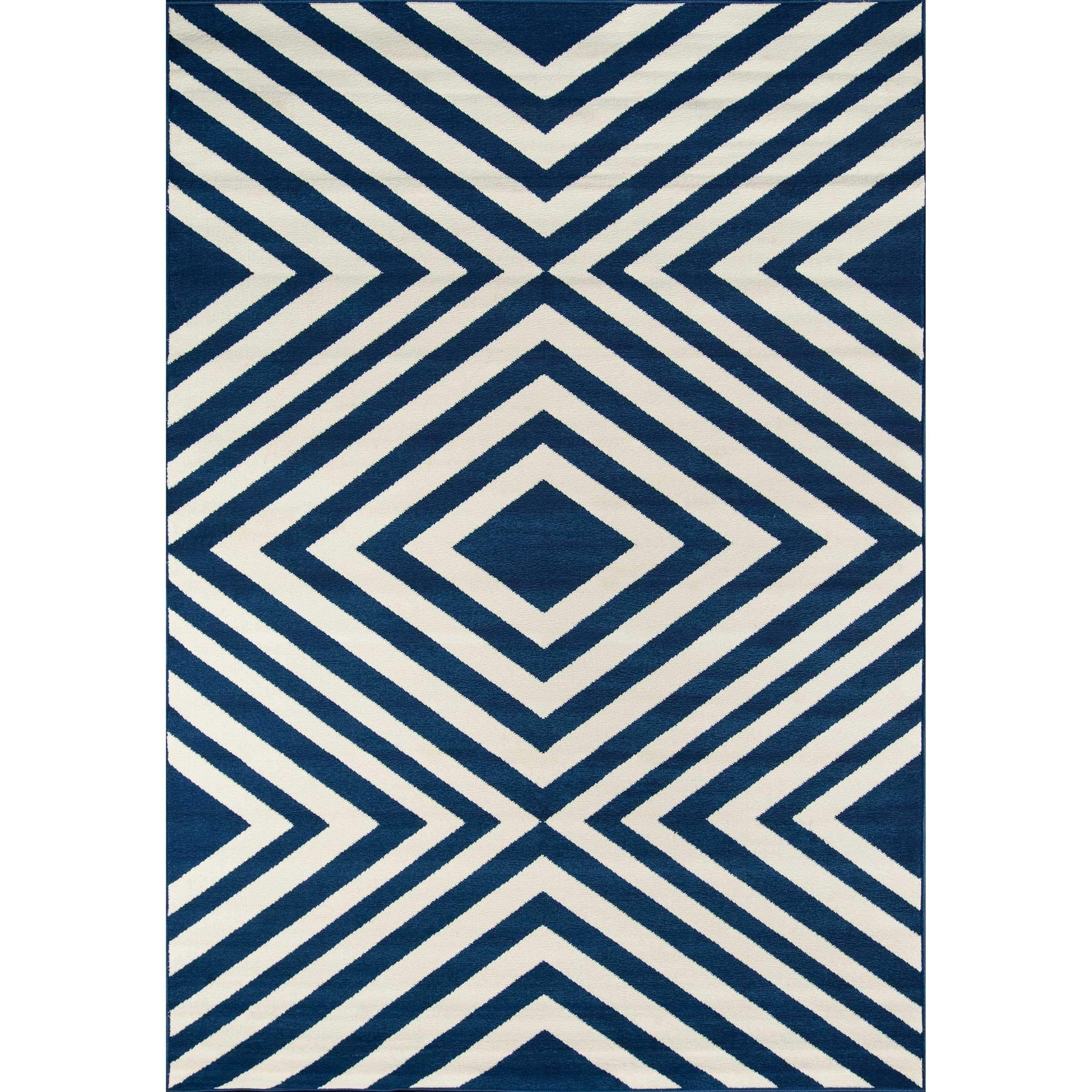 Momeni Baja Zig Zag Navy Indoor Outdoor Area Rug 1 8 X 3 7 Blue Polypropylene Abstract
