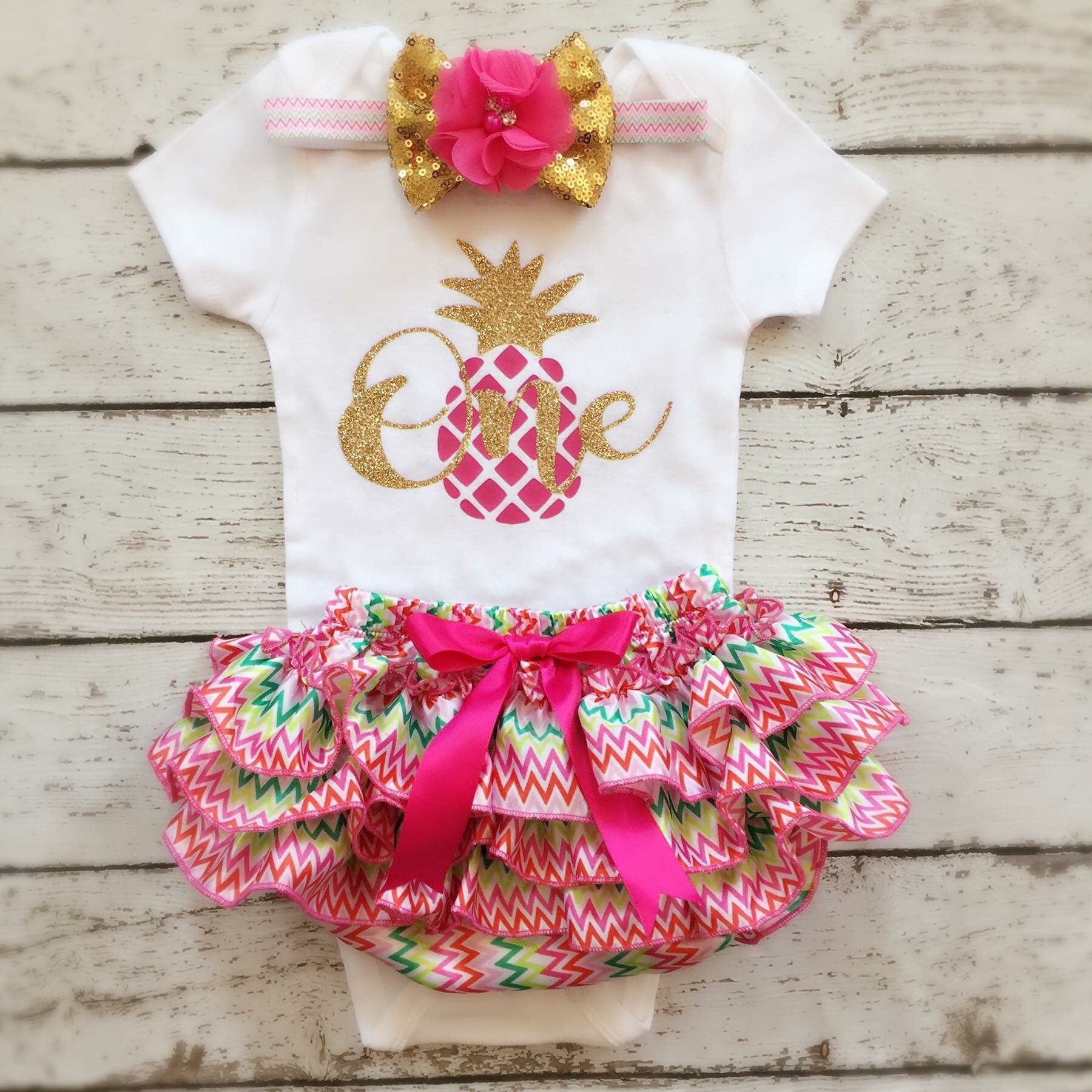 c196a6dc45ae Pineapple 1st Birthday- First Birthday outfit Hawaiian Summer Pineapple  Theme Birthday outfit