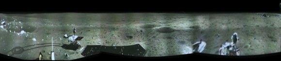 China's 1st Lunar Lander snaps 1st landing site Panorama - Technology Org