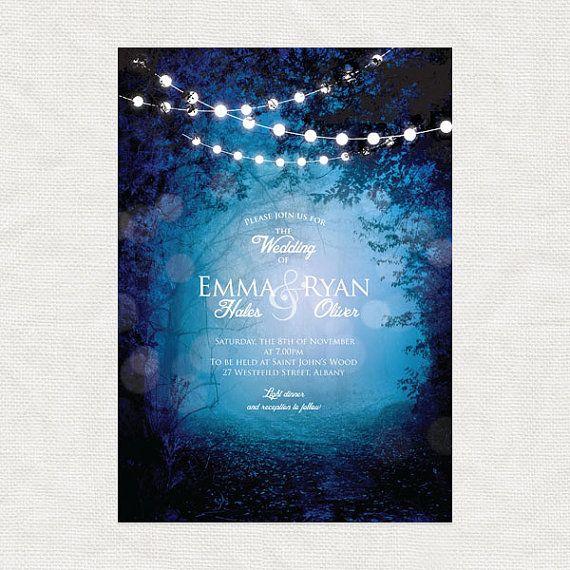 Into The Woods Printable Woodland Wedding Invitation Fairytale Fantasy Forest Tree Fairy Lights Blue Purple Magical Whimsical Diy Customised