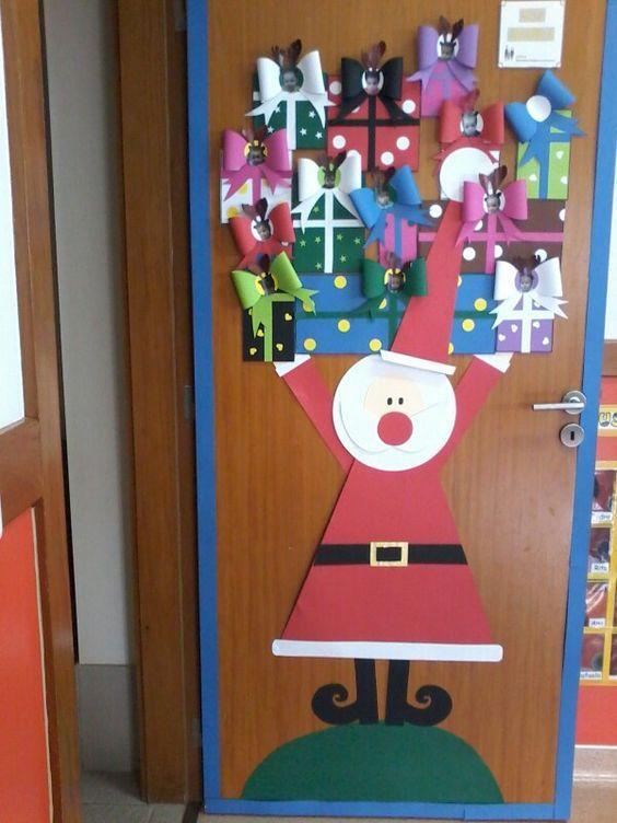 Puertas adornos navidenos para salon de clases