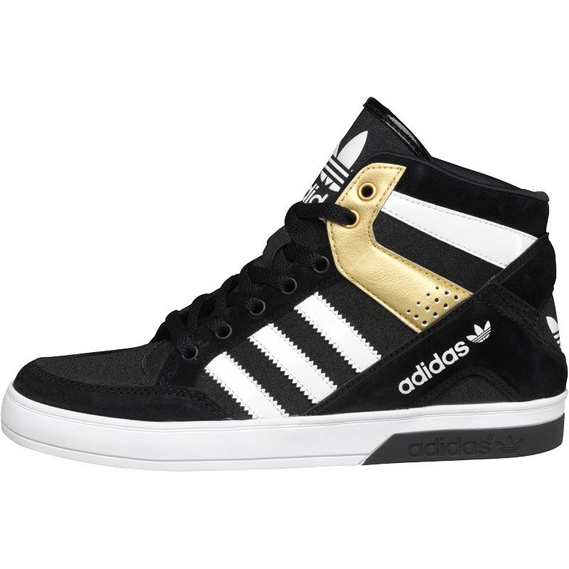 timeless design abea1 3d5f0 adidas Originals Womens Hard Court Block Hi-Tops Black White Metallic Gold
