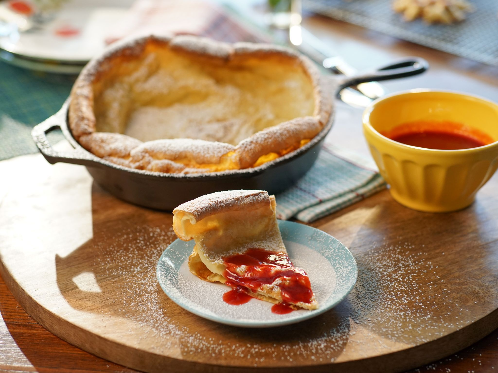 Dutch Baby Pancake with Raspberry-Orange Coulis recipe from Valerie Bertinelli via Food Network #valeriebertinellirecipes
