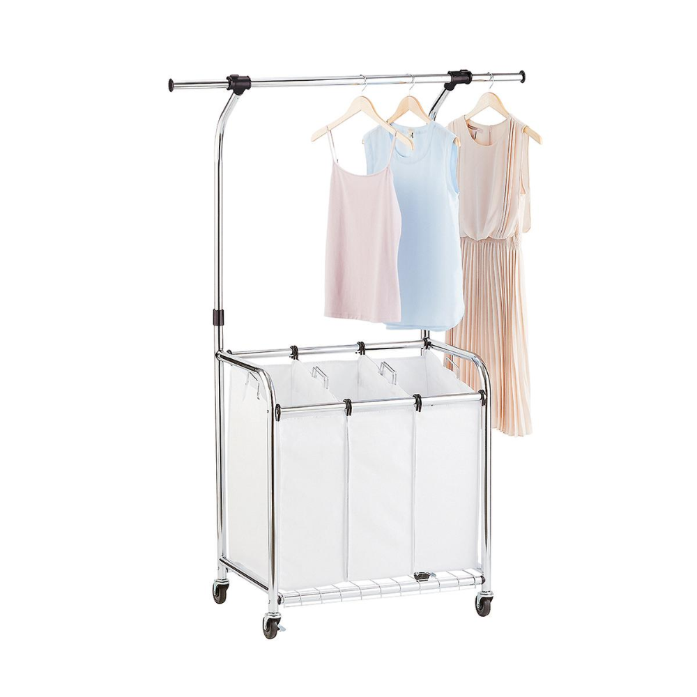 Chrome 3 Bin Premium Rolling Laundry Center With Wheels The