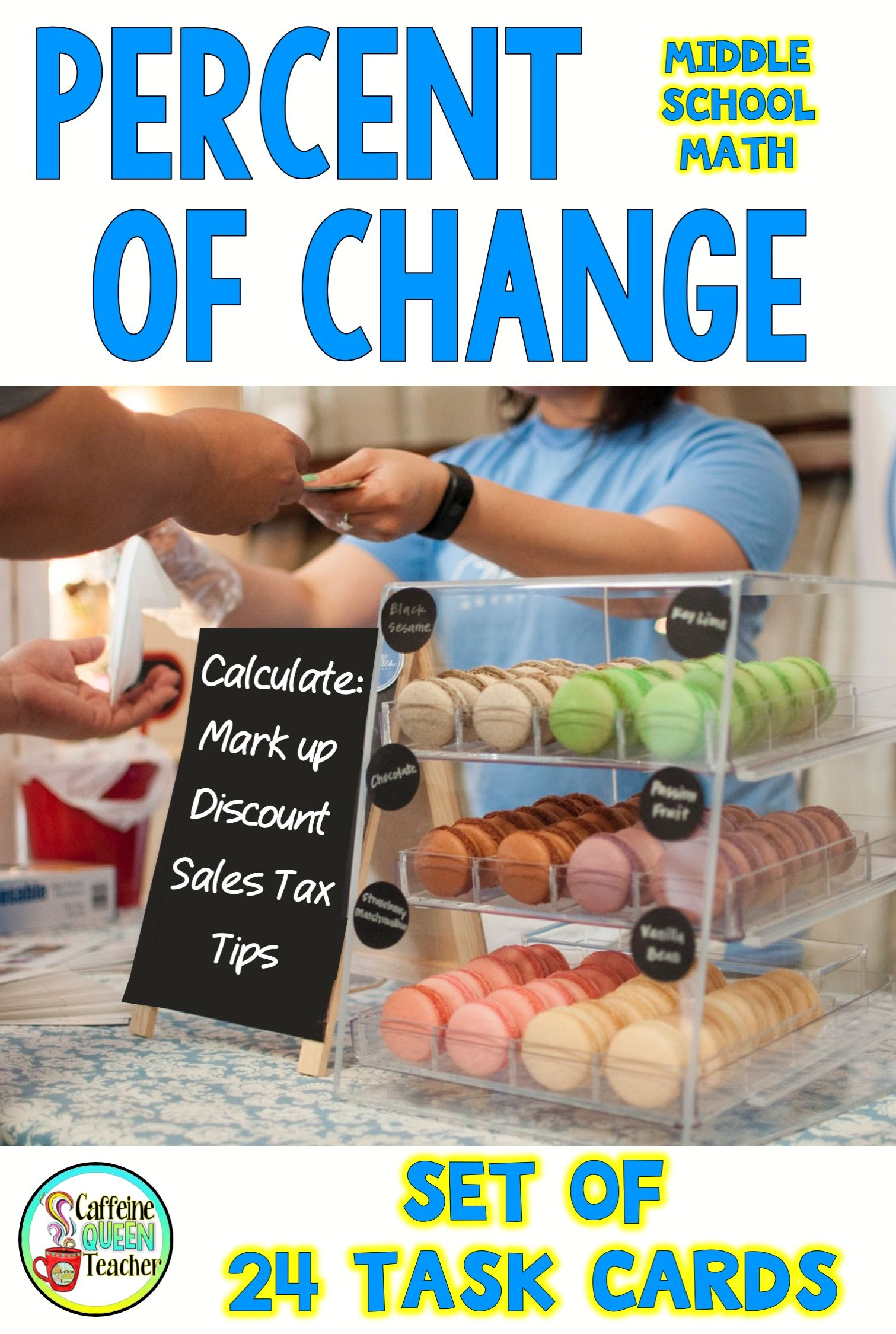 Percent Of Change Task Cards With Tips Discount Markup And