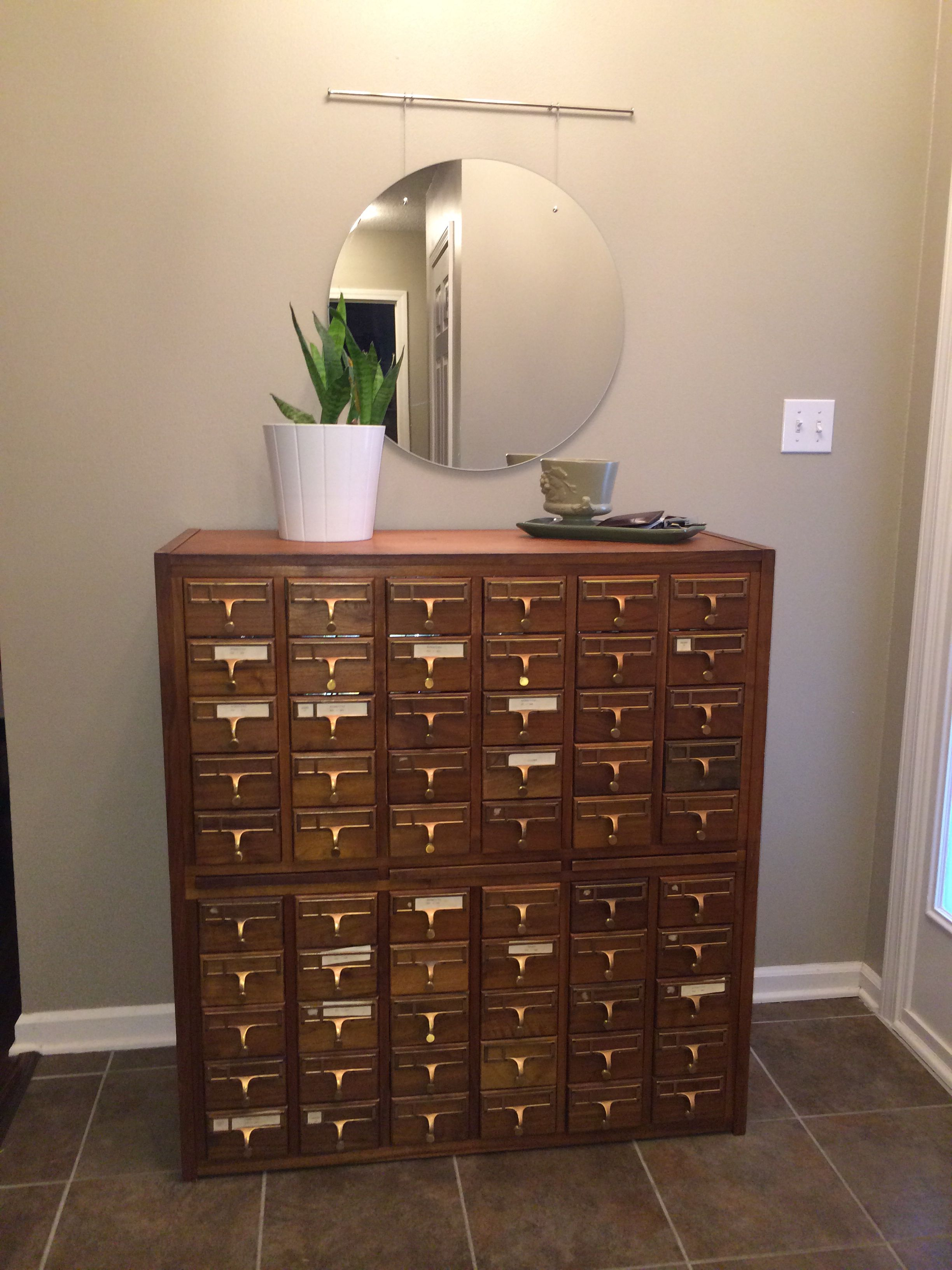 Antique Library Card Catalog Entryway Table... Haley Robson Design.