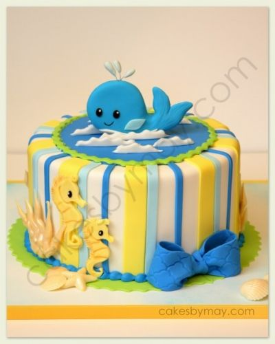 Whale and Seahorse Baby Shower Cake By MayWest on CakeCentral.com
