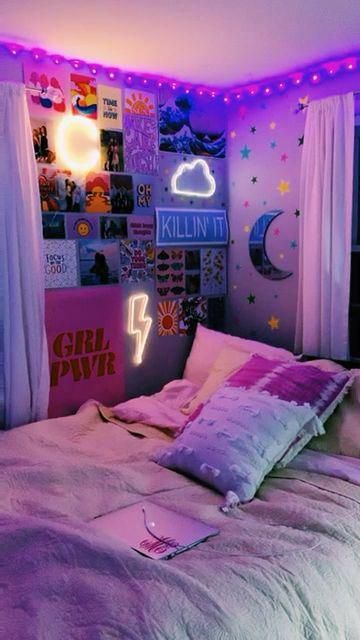 Bedroom Vsco Dsco Ledlights Teenbedroomideas In 2020 Dorm Room Inspiration Neon Room Room Inspiration Bedroom