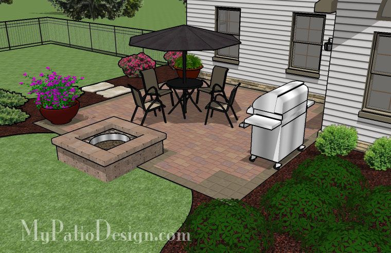 320 Sq Ft Diy Square Patio Design With Fire Pit Small Patio