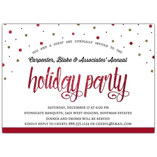 Holiday Confetti Corporate Or Business Holiday Party Invitations