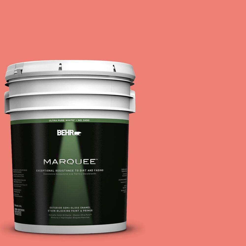 Behr Marquee 5 Gal 170b 5 Youthful Coral Semi Gloss Enamel Exterior Paint And Primer In One 545305 Behr Marquee Exterior Paint Behr Marquee Paint