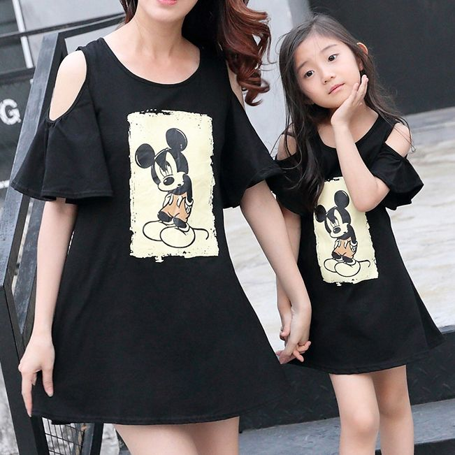 Family Matching Outfits Mother Daughter Women Girls Tops T-Shirt Cold Shoulder