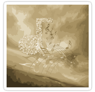 #GoldMusicNotes Abstract #SquareSticker by #MoonDreamsMusic