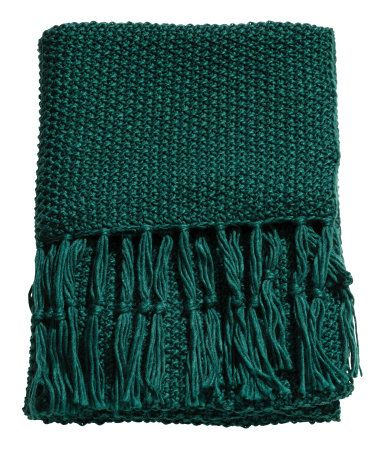 Dark Green Throw In Soft Moss Knit Fabric With Wool