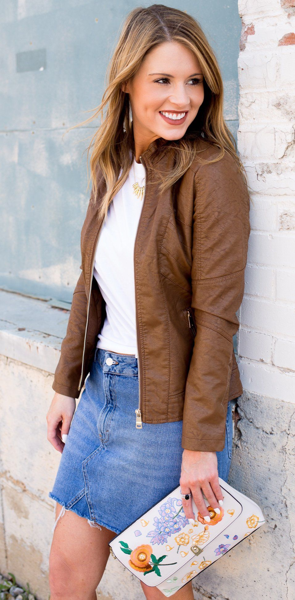 Leather jacket yahoo answers -  Spring Fashion Brown Leather Jacket Denim Skirt