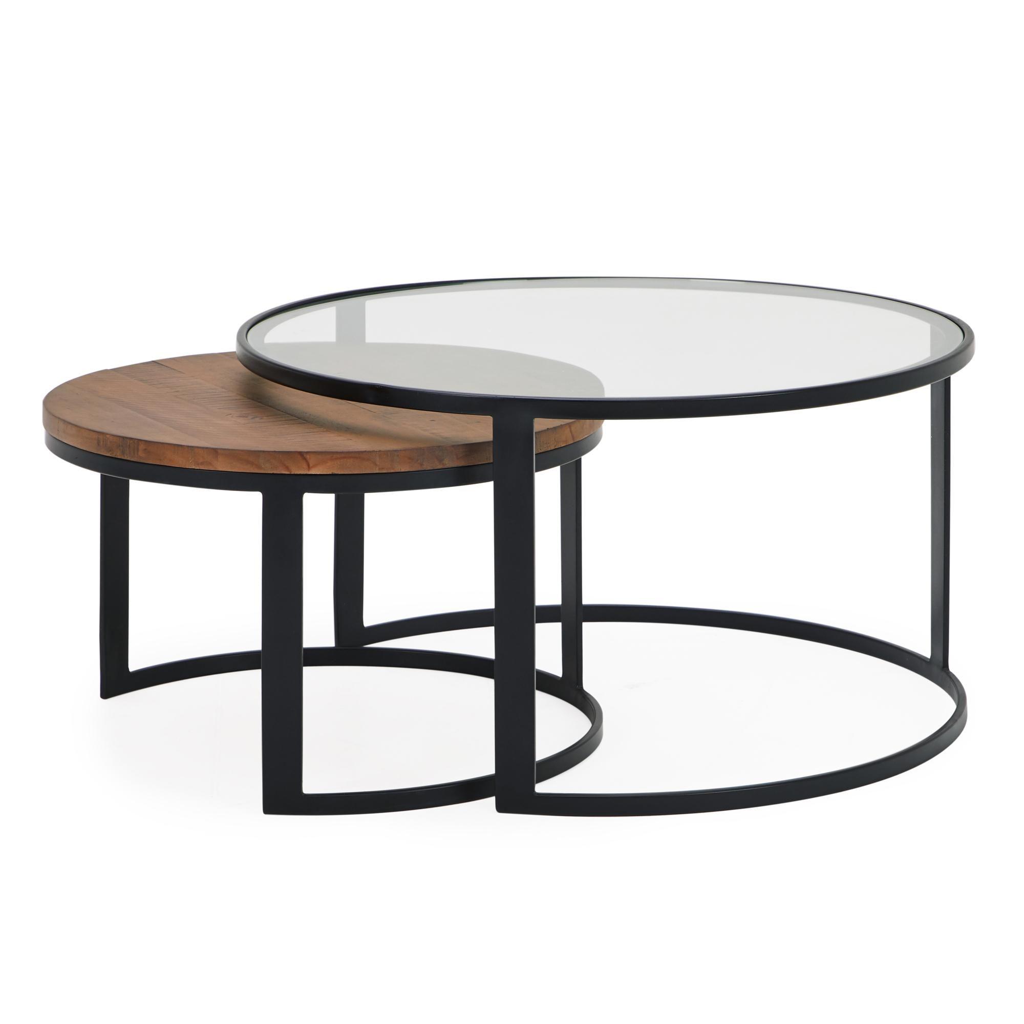 Jackson Set Of 2 Coffee Tables Black Glass Coffee Table Coffee Table Round Coffee Table Modern [ 2000 x 2000 Pixel ]