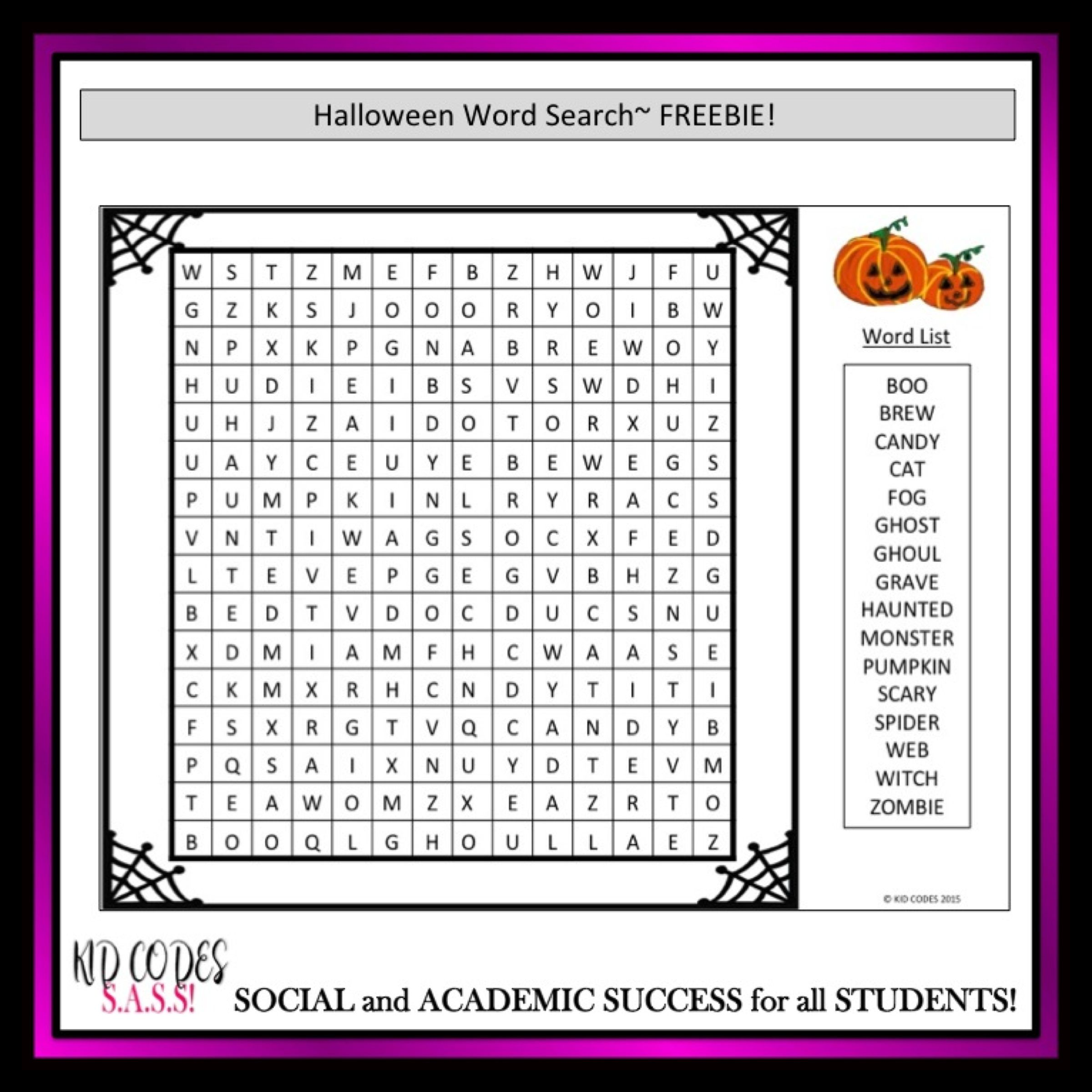 Free! Halloween Word Search https://www.teacherspayteachers.com ...
