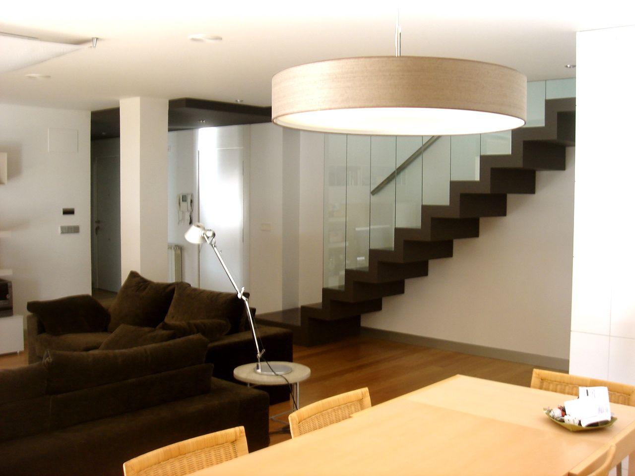 Decoracion Moderno Sala De Estar Escalera Mesas De Comedor  ~ Lamparas Para Comedores Modernos