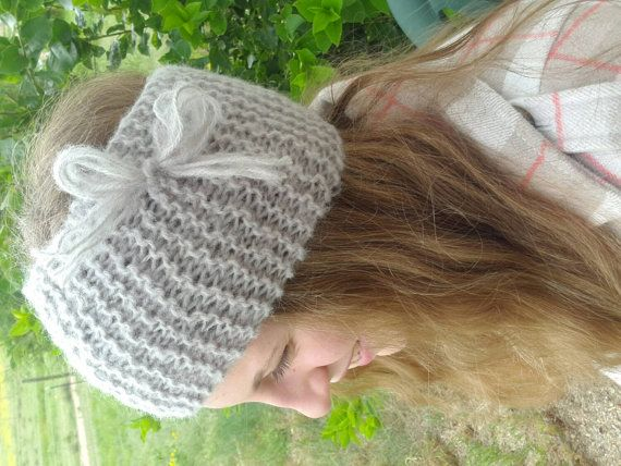 Gray Fluffy Cozy Knitted Headband Earwarmer by LibertysBoutique