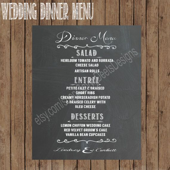 photograph relating to Printable Chalkboard Signs named Marriage ceremony Supper Menu Chalkboard Signal- Printable Chalkboard