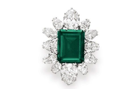 An emerald and diamond brooch, a gift from Richard Burton to Elizabeth Taylor