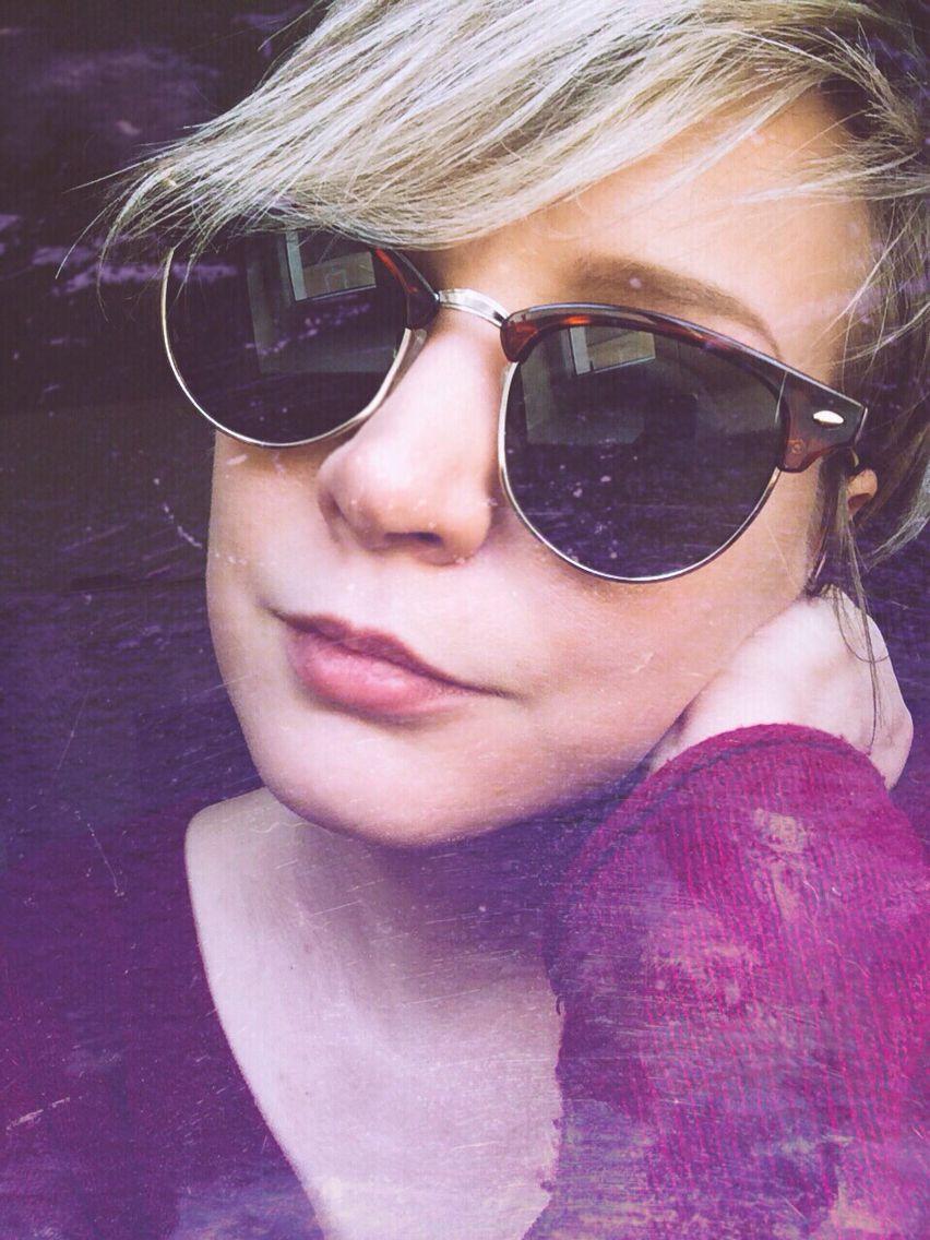 Hello sunshine purple sunglasses blonde pixie hair my home