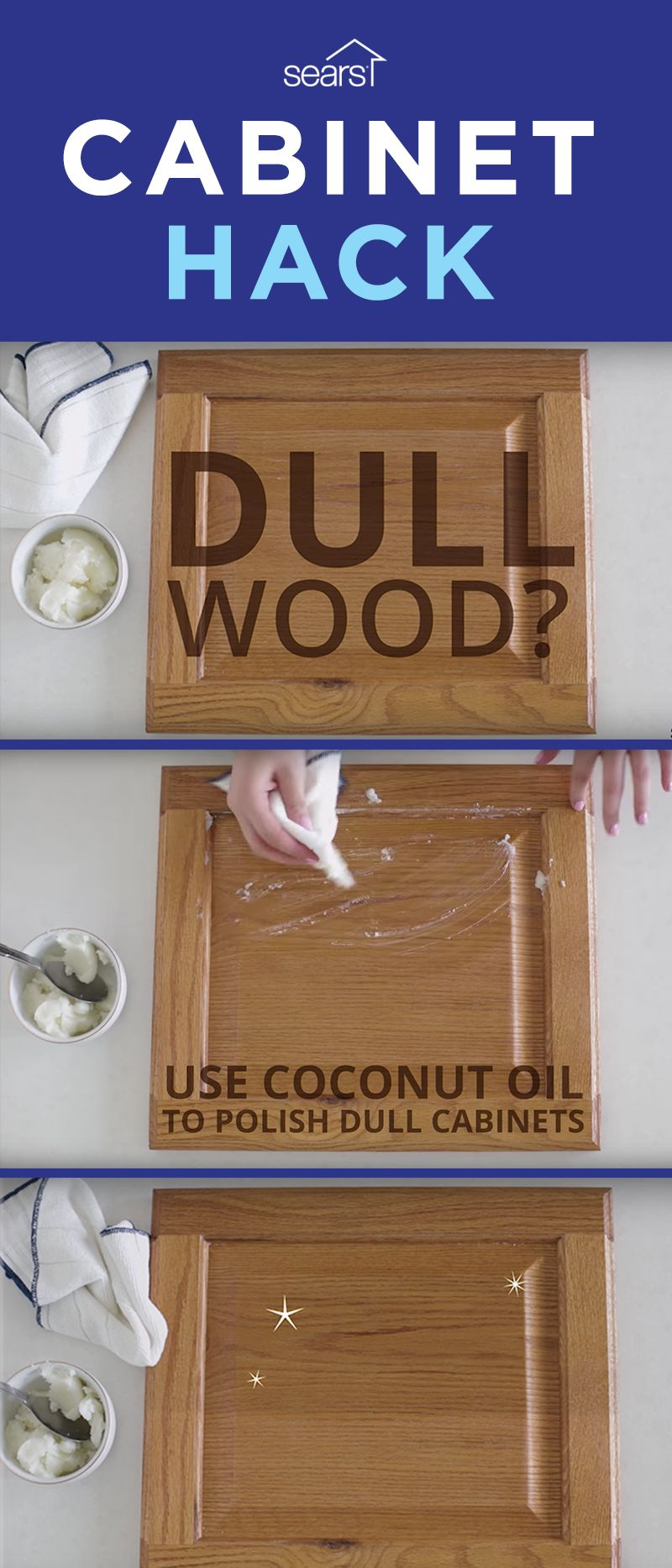 Cabinet Hacks Tested We Ve The Por Hack Of Polishing Stressed Wood Cabinets With Coconut Oil Much Has Been Written About