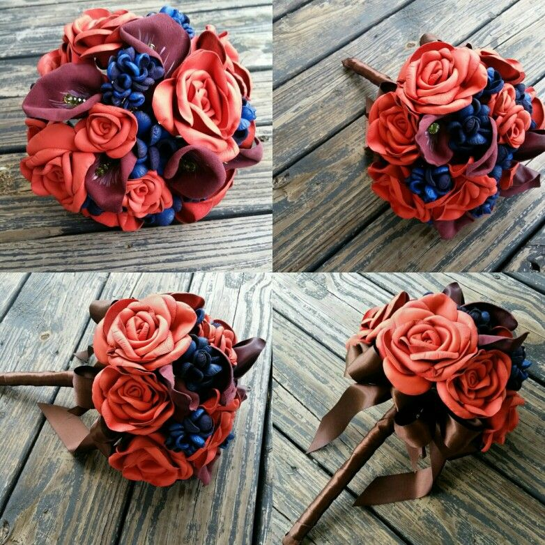 www.dyjodesigns.etsy.com Bridal Bouquet, Leather Flowers ...