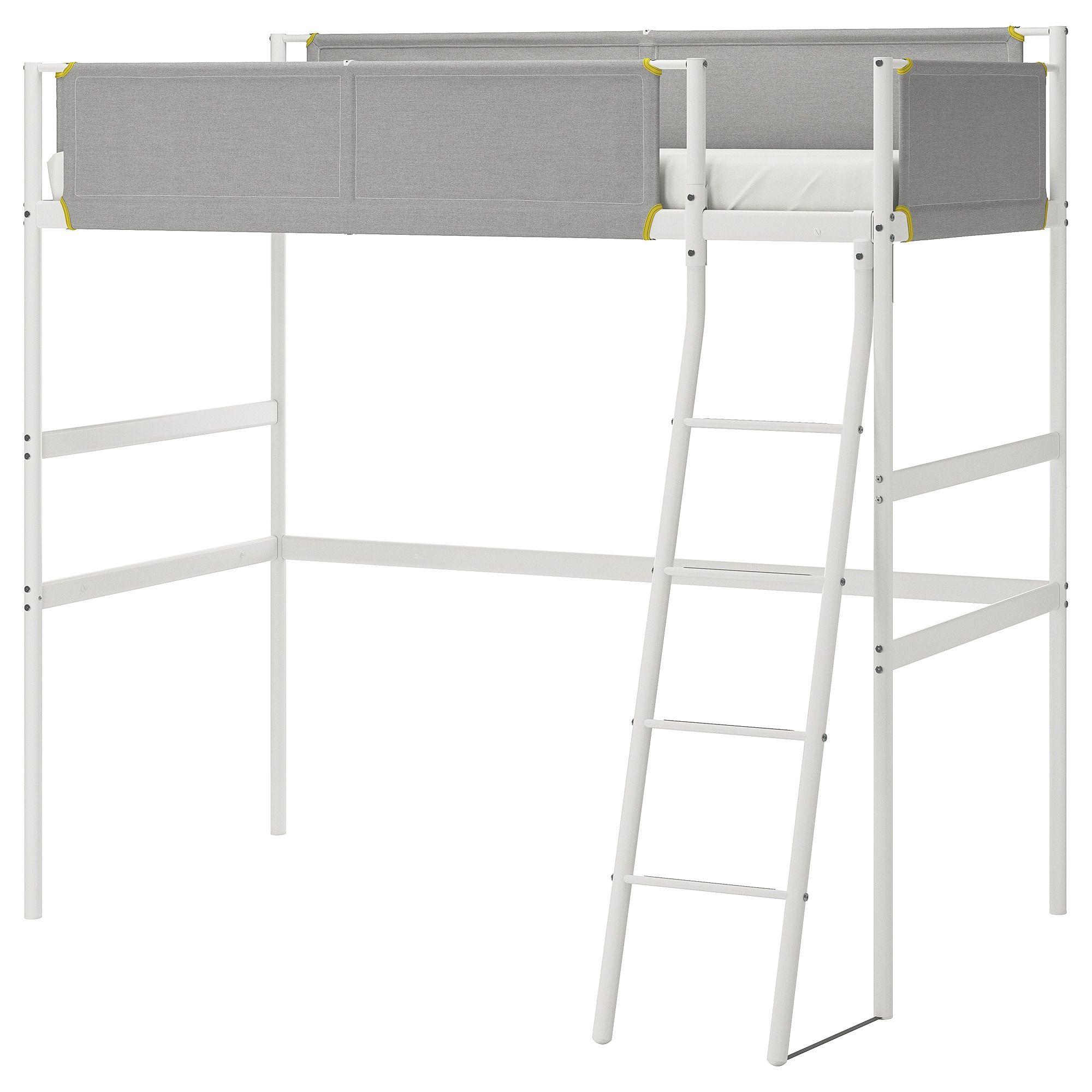 IKEA VITVAL White, Light Gray Loft bed frame Loft bed