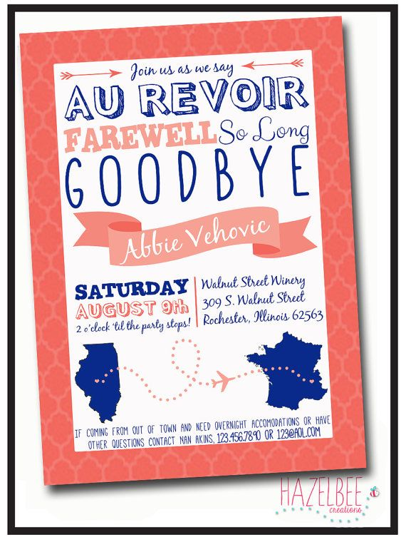 Farewell Going Away Party Invitation - Printable party Pinterest - invitation templates for farewell party