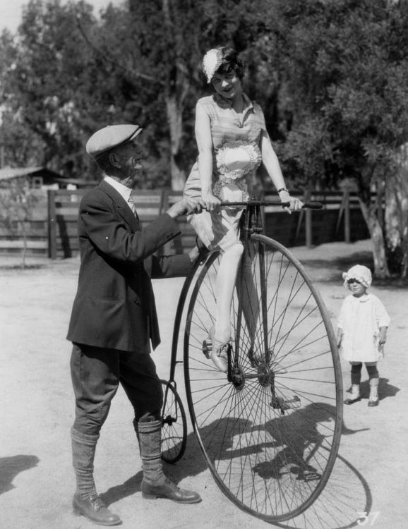Riding A Pennyfarthing in Hollywood c.1927