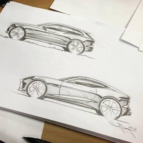 #Jaguar F-Pace and F-Type sketches by designer Wayne Burgess