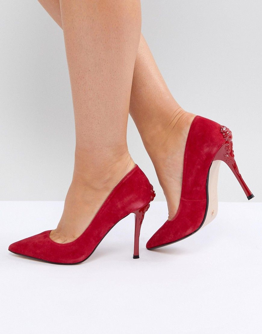 c20949f2d388 DUNE LONDON BUDS POINTED COURT SHOE WITH ROSE HEEL - RED.  dune  shoes