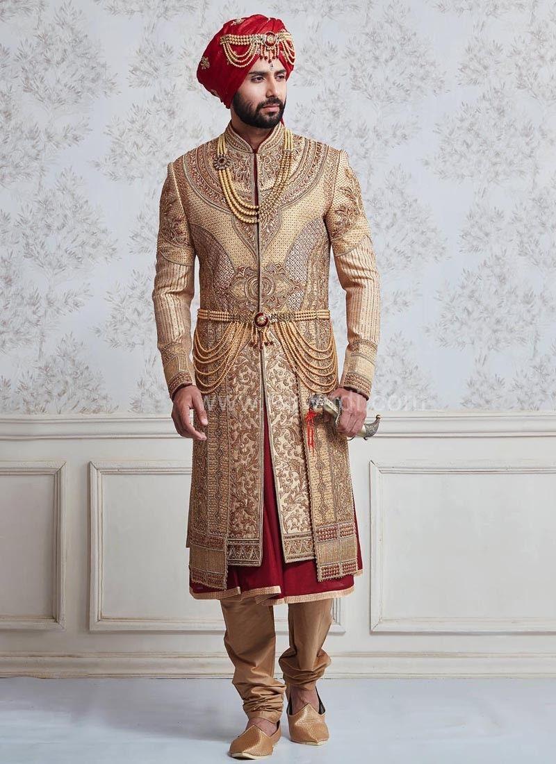 Wedding Sherwani In Dark Faun And Maroon Color Groom Dress Men Sherwani For Men Wedding Indian Groom Wear
